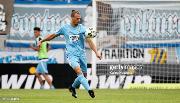 Maurice Trapp of Chemnitz during the 3Liga match between Chemnitzer FC and FSV Zwickau at community4you Arena on July 23 2017 in Chemnitz Germany