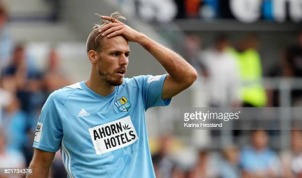 Maurice Trapp of Chemnitz reacts during the 3 Liga match between Chemnitzer FC and FSV Zwickau at on July 23 2017 in Chemnitz Germany