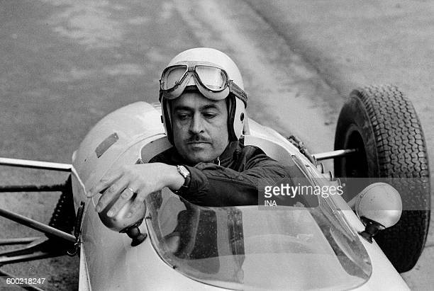 Maurice Trintignant behind the wheel of the car 12 during automobile Grand Prix of Pau