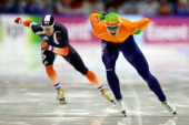 Maurice Vriend of Netherlands competes in the Division A 1500m Mens Race on the final day of the Essent ISU World Cup Speed Skating at Thialf Ice...
