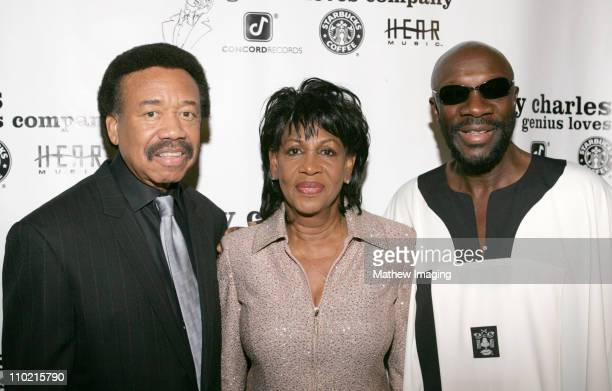 Maurice White Maxine Waters and Isaac Hayes during Ray Charles Post 2005 GRAMMY Awards Party in Los Angeles CA United States