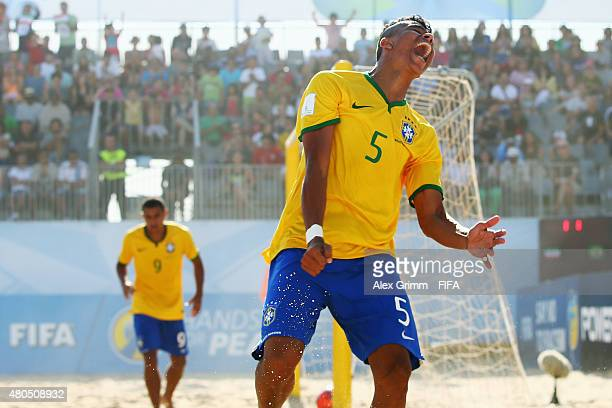 Mauricinho of Brazil celebrates a goal during the FIFA Beach Soccer World Cup Portugal 2015 Group C match beween Iran and Brazil at Espinho Stadium...