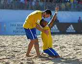 Mauricinho of Brazil celebrates scoring a goal with Fernando Ddi during the FIFA Beach Soccer World Cup Group C match between Brazil and Mexico at...