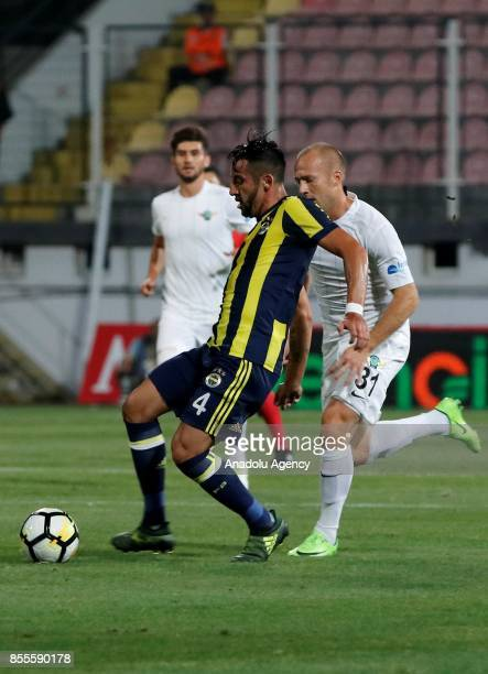 Mauricio Anibal Isla of Fenerbahce in action against Daniel Alexander Larsson of Teleset Mobilya Akhisarspor during the Turkish Super Lig soccer...