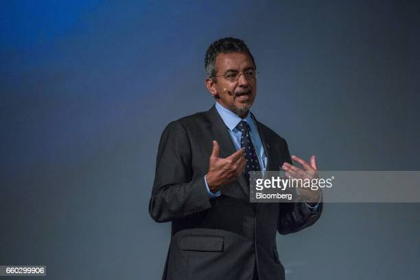 Mauricio Antonio Lopes president of Empresa Brasileira de Pesquisa Agropecuaria speaks during the Global Agribusiness Forum in Sao Paulo Brazil on...