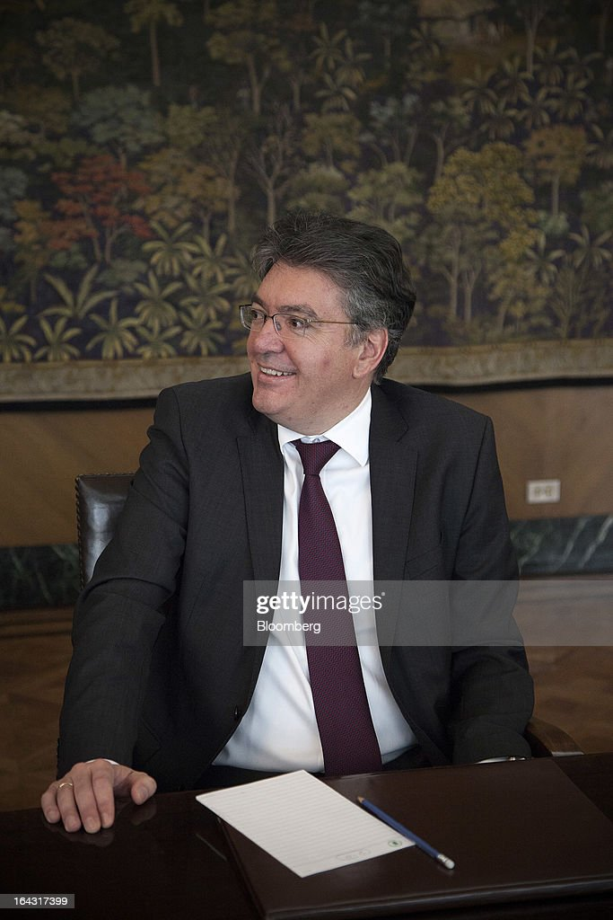 Mauricio Cardenas, Colombia's finance minister and a board member of the Banco de la Republica, smiles during a photo shoot at the bank's headquarters in Bogota, Colombia, on Friday, March 22, 2013. Central bank policy makers will lower borrowing costs by 25 basis points to 3.5 percent on March 22, according to 29 of 32 analysts and economists surveyed by Bloomberg. Photographer: Jose Cendon/Bloomberg via Getty Images