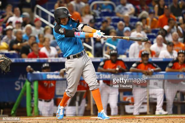 Mauricio Dubon of the World Team bats during the SirusXM AllStar Futures Game at Marlins Park on Sunday July 9 2017 in Miami Florida