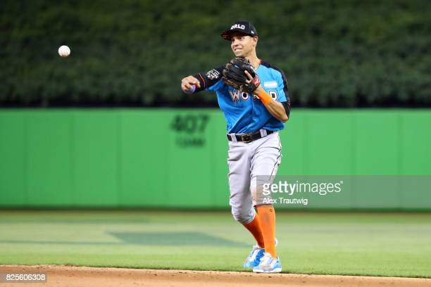 Mauricio Dubon of the World Team throws to first base during the SirusXM AllStar Futures Game at Marlins Park on Sunday July 9 2017 in Miami Florida