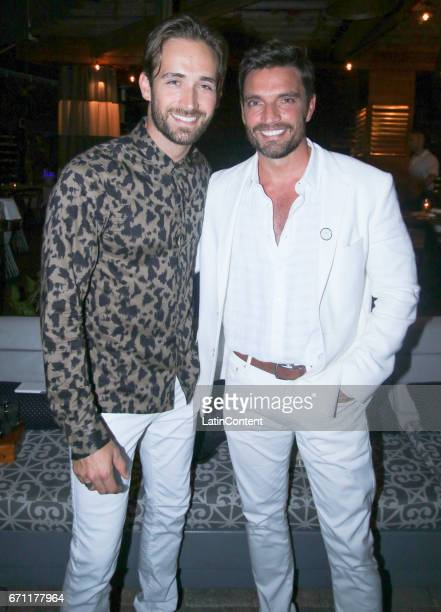 Mauricio Henao and Julian Gil pose at River Yatch Club during the US launch of Carson Life on April 20 2017 in Miami Us