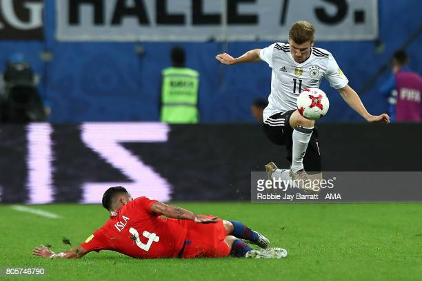 Mauricio Isla of Chile challenges Timo Werner of Germany during the FIFA Confederations Cup Russia 2017 Final match between Chile and Germany at...
