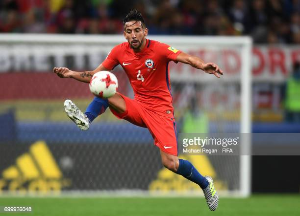 Mauricio Isla of Chile in action during the FIFA Confederations Cup Russia 2017 Group B match between Germany and Chile at Kazan Arena on June 22...