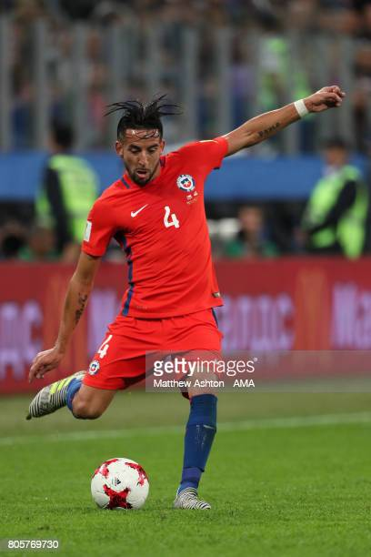 Mauricio Isla of Chile in action during the FIFA Confederations Cup Russia 2017 Final match between Chile and Germany at Saint Petersburg Stadium on...