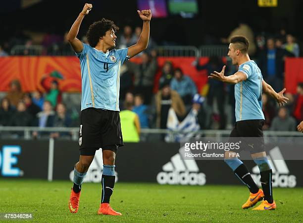 Mauricio Lemos and Erick Cabaco of Uruguay celebrate after they defeated Serbia during the FIFA U20 World Cup New Zealand 2015 Group D match between...