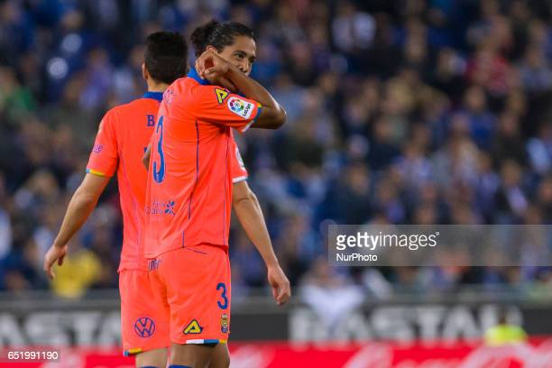 Mauricio Lemos celebrates scoring the goal during the match between RCD Espanyol vs Las Palmas for the round 27 of the Liga Santander played at RCD...