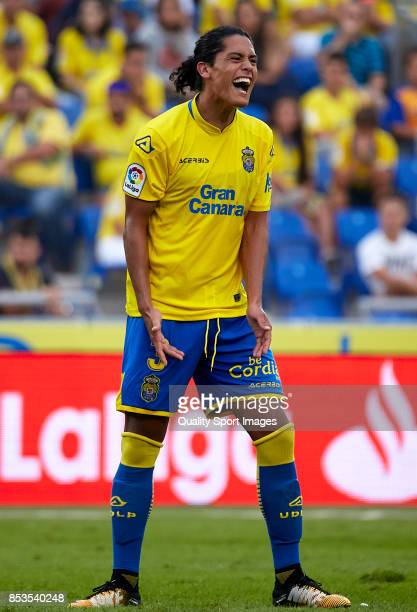 Mauricio Lemos of Las Palmas reacts during the La Liga match between Las Palmas and Leganes at Estadio Gran Canaria on September 24 2017 in Las...