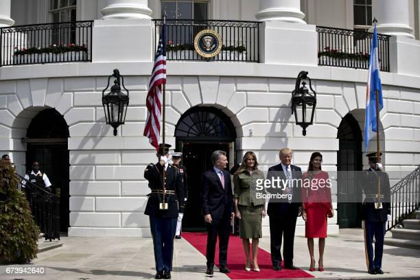 Mauricio Macri Argentina's president from left US First Lady Melania Trump US President Donald Trump and Juliana Awada first lady of Argentina stand...