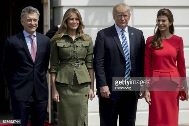 Mauricio Macri Argentina's president from left US First Lady Melania Trump US President Donald Trump and Juliana Awada first lady of Argentina stand...
