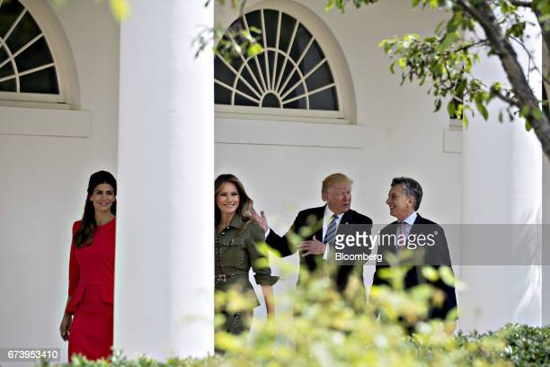 Mauricio Macri Argentina's president from right US President Donald Trump US First Lady Melania Trump and Juliana Awada first lady of Argentina walk...