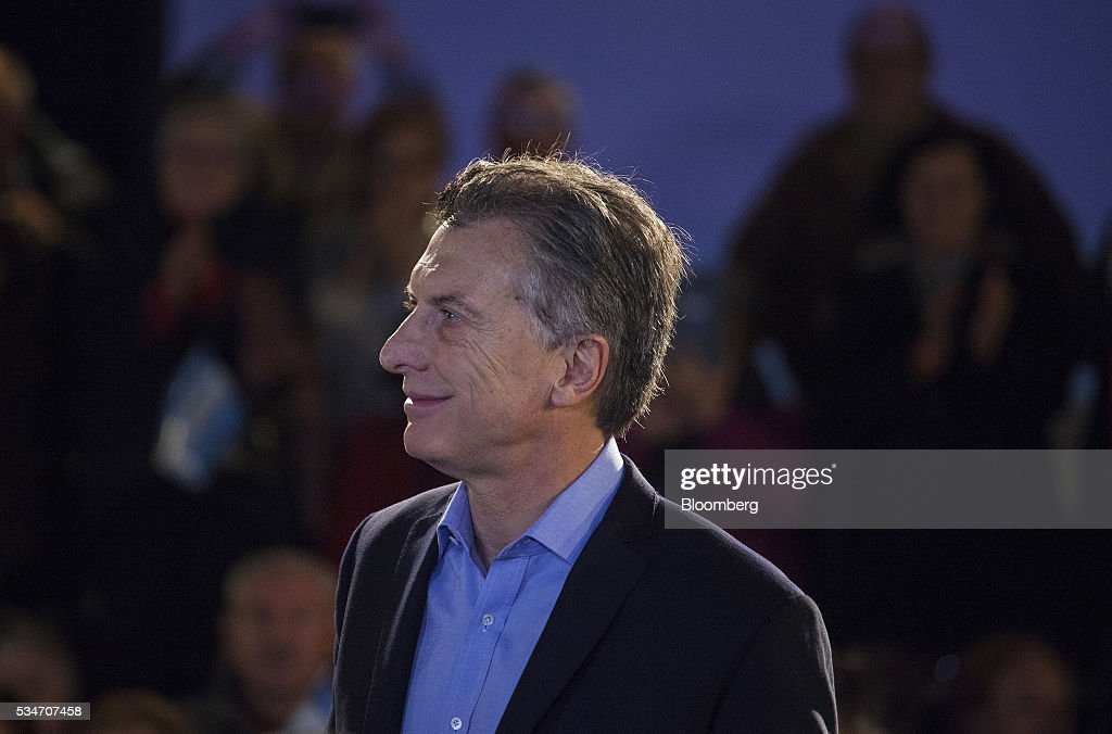 <a gi-track='captionPersonalityLinkClicked' href=/galleries/search?phrase=Mauricio+Macri&family=editorial&specificpeople=773012 ng-click='$event.stopPropagation()'>Mauricio Macri</a>, Argentina's president, smiles during an event in Buenos Aires, Argentina, on Friday, May 27, 2016. Macri announced a amnesty on an estimated $500 billion of unregistered funds stashed abroad to pay pensioners and help fund a multi-billion dollar infrastructure program. Photographer: Diego Levy/Bloomberg via Getty Images