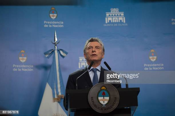 Mauricio Macri Argentina's president speaks during a joint press conference with US Vice President Mike Pence not pictured in Buenos Aires Argentina...