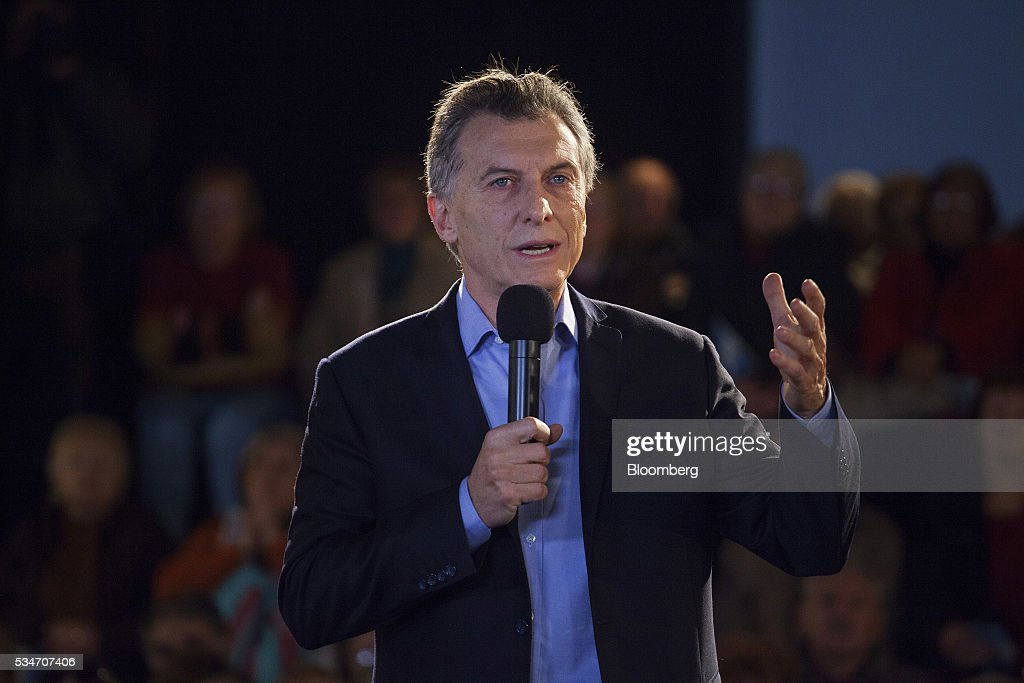 <a gi-track='captionPersonalityLinkClicked' href=/galleries/search?phrase=Mauricio+Macri&family=editorial&specificpeople=773012 ng-click='$event.stopPropagation()'>Mauricio Macri</a>, Argentina's president, speaks during an event in Buenos Aires, Argentina, on Friday, May 27, 2016. Macri announced a amnesty on an estimated $500 billion of unregistered funds stashed abroad to pay pensioners and help fund a multi-billion dollar infrastructure program. Photographer: Diego Levy/Bloomberg via Getty Images