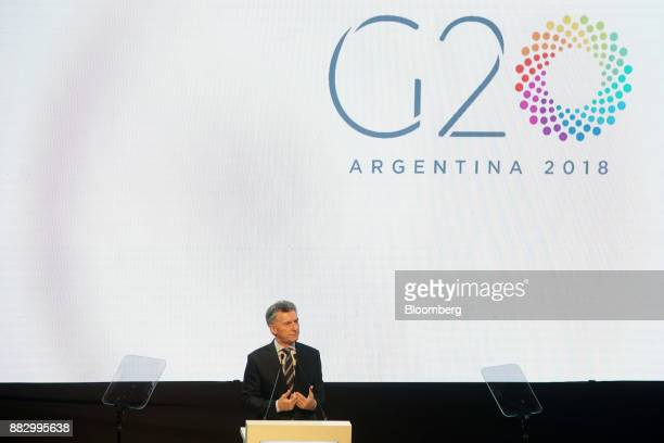 Mauricio Macri Argentina's president speaks during the Argentine G20 Presidency launch event in Buenos Aires Argentina on Thursday Nov 30 2017...