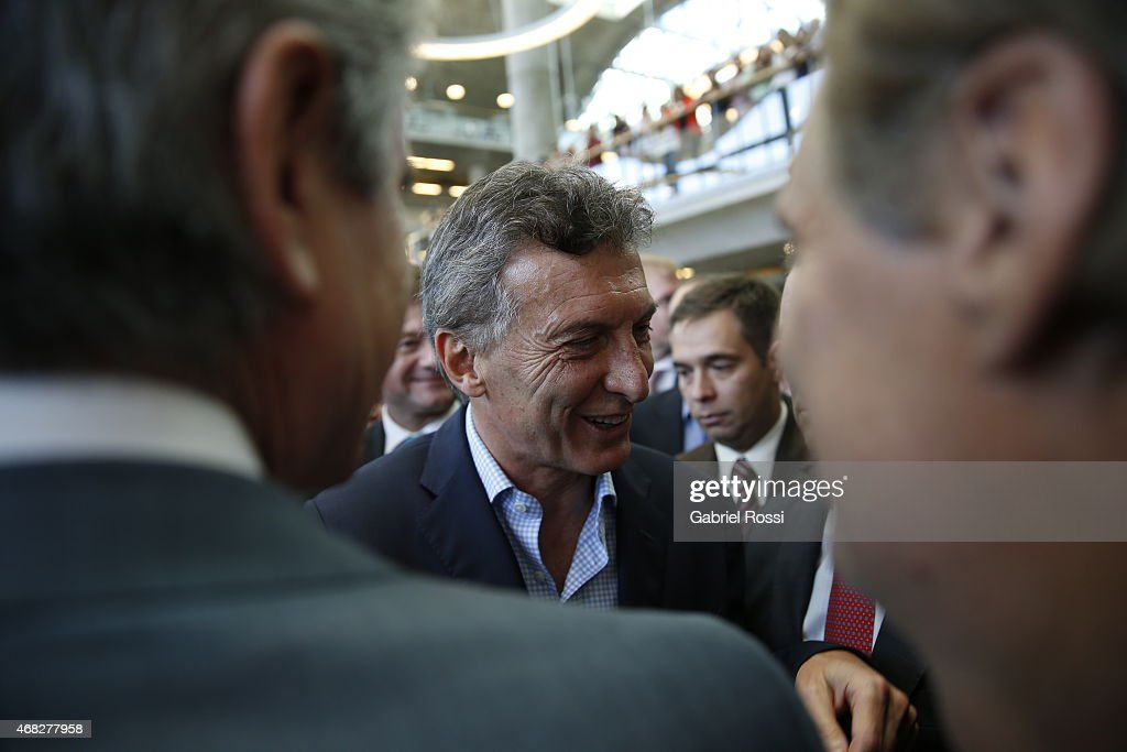 Mauricio Macri, Buenos Aires City Mayor, greets people after the official ceremony to inaugurate the new headquarters of Buenos Aires City Government at Centro Civico Parque Patricios on April 01, 2015 in Buenos Aires, Argentina. The headquarters government have been moved from their long-standing offices on the Plaza de Mayo to the south of the city in Parque Patricios neighbourhood. The building, designed by multiple award-winning British architect Norman Foster contains a number of wholly sustainable features.