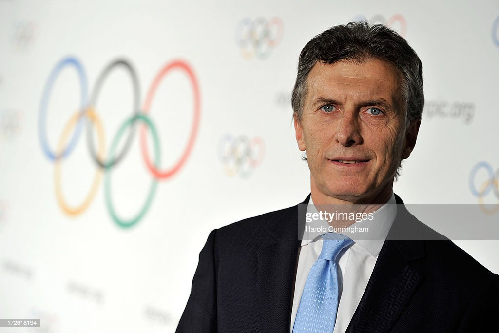 Mauricio Macri, Buenos Aires City Mayor, poses after Buenos Aires has been announced as the 3rd Summer Youth Olympic Games in 2018 winning city on July 4, 2013 in Lausanne, Switzerland. The IOC Extraordinary Session held on the two days will allow IOC members to follow the 2020 summer Olympics candidate cities bids, the IOC presidential candidates briefing, and will elect the host city of the 3rd Summer Youth Olympic Games in 2018.