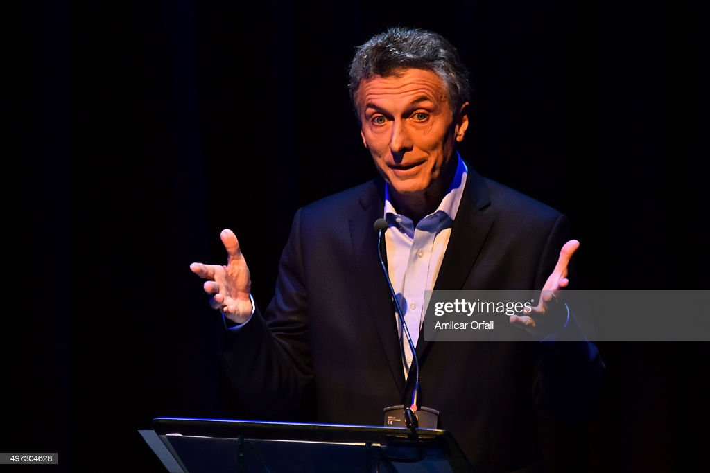 Mauricio Macri, Mayor of Buenos Aires and presidential candidate for CAMBIEMOS during speaks the Presidential Debate 'Argentina Debate' at University of Buenos Aires (UBA) Law School on November 15, 2015 in Buenos Aires, Argentina. The NGO Argentina Debate organised the Argentina's presidential debate ahead of the November 22 runoff that will be held in Argentina.