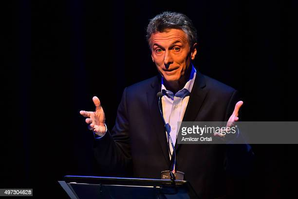 Mauricio Macri Mayor of Buenos Aires and presidential candidate for CAMBIEMOS during speaks the Presidential Debate 'Argentina Debate' at University...