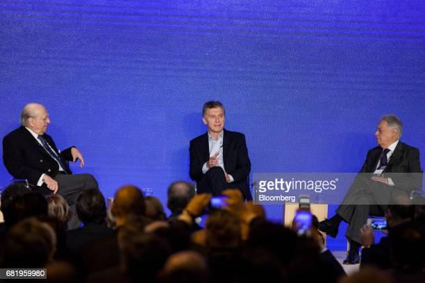 Mauricio Macri president of Argentina center speaks while Julio Maria Sanguinetti former president of Uruguay left and Fernando Henrique Cardoso...