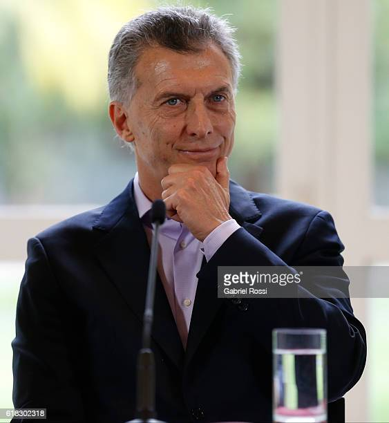 Mauricio Macri President of Argentina gestures during a press conference to announce the return of ANSES' social security funds to different...