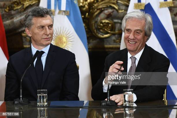 Mauricio Macri president of Argentina looks at Tabaré Vazquez president of Uruguay during a press conference at Casa Rosada as part of the official...
