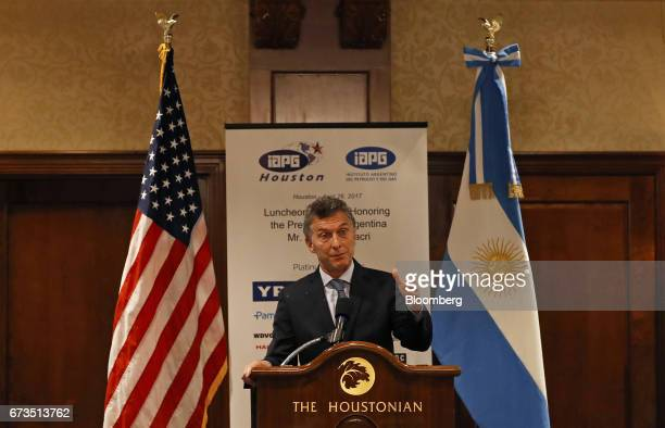 Mauricio Macri president of Argentina speaks during a luncheon with oil executives in Houston Texas US on Wednesday April 26 2017 Macrimet with oil...