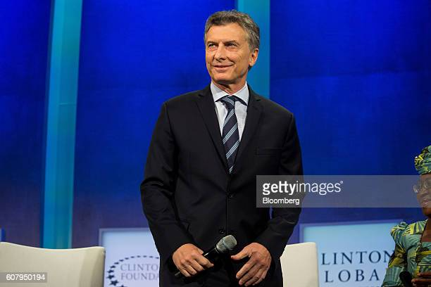 Mauricio Macri president of Argentina walks on stage for a panel discussion during the annual meeting of the Clinton Global Initiative in New York US...