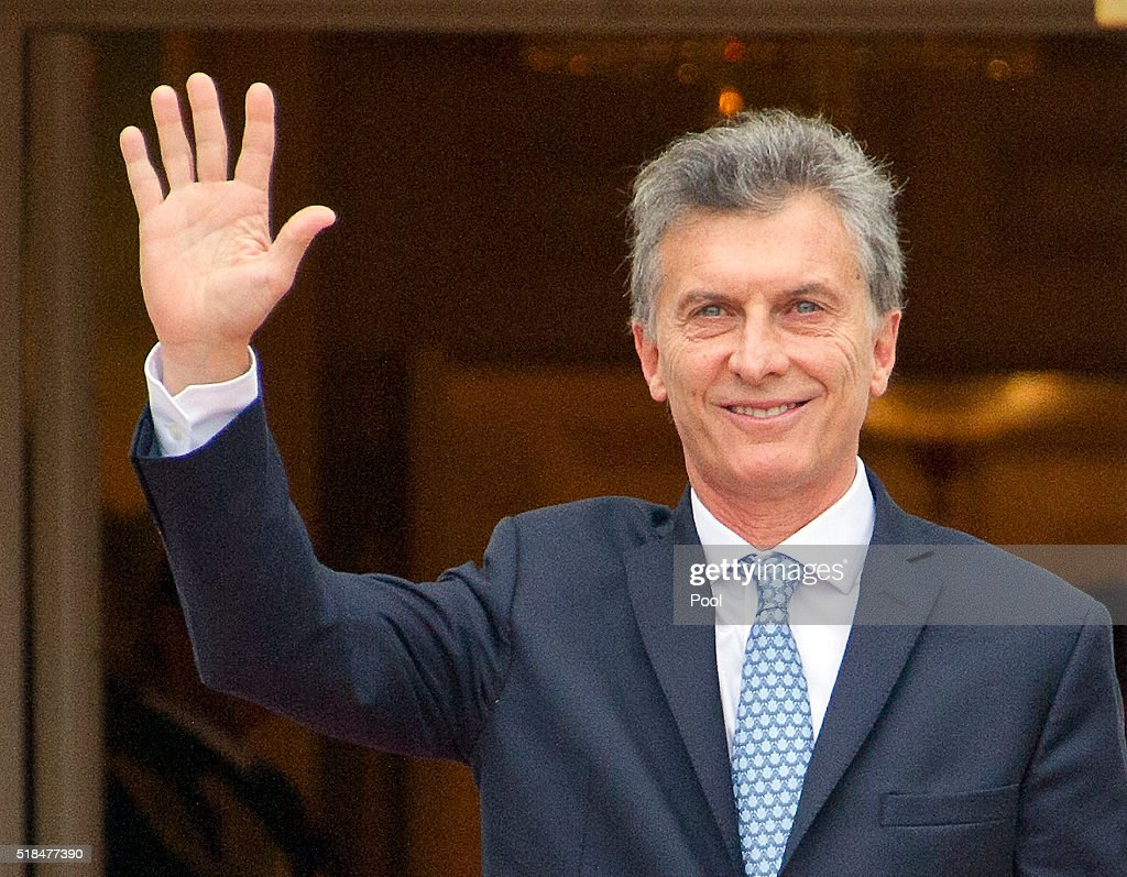 Mauricio Macri, President of Argentine Republic arrives for the working dinner for the heads of delegations at the Nuclear Security Summit on the South Lawn of the White House March 31, 2016 in Washington, D.C..