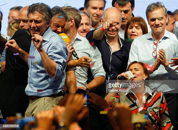 Mauricio Macri Presidential Candidate for Cambiemos and andidate to the vice presidency Gabriela Michetti celebrate after runoff elections at...