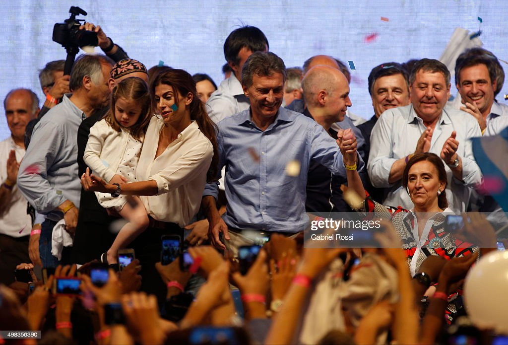 Mauricio Macri Presidential Candidate for Cambiemos and his wife Juliana Awada celebrate after runoff elections at Cambiemos Bunker on November 22, 2015 in Buenos Aires, Argentina.