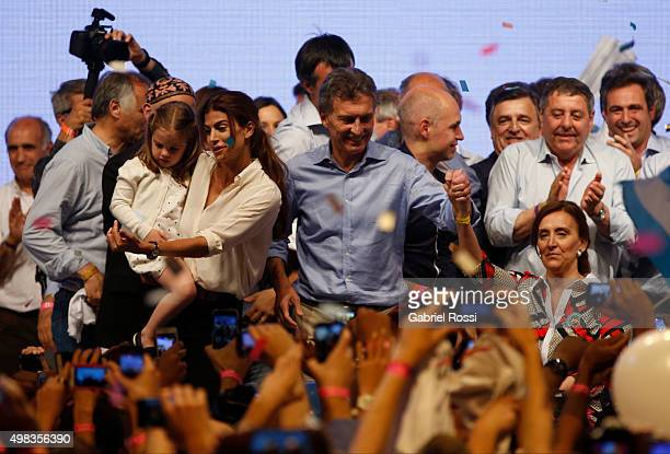 Mauricio Macri Presidential Candidate for Cambiemos and his wife Juliana Awada celebrate after runoff elections at Cambiemos Bunker on November 22...