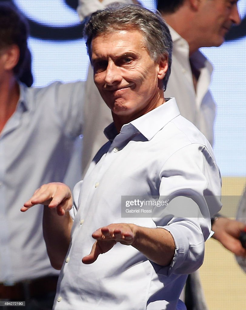 <a gi-track='captionPersonalityLinkClicked' href=/galleries/search?phrase=Mauricio+Macri&family=editorial&specificpeople=773012 ng-click='$event.stopPropagation()'>Mauricio Macri</a> Presidential Candidate for Cambiemos celebrates after the general elections at Cambiemos Bunker on October 25, 2015 in Buenos Aires, Argentina.