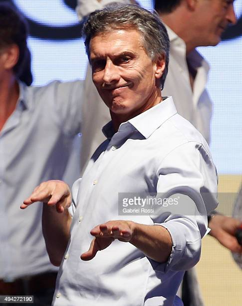 Mauricio Macri Presidential Candidate for Cambiemos celebrates after the general elections at Cambiemos Bunker on October 25 2015 in Buenos Aires...