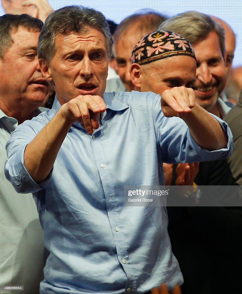 Mauricio Macri Presidential Candidate for Cambiemos celebrates after runoff elections at Cambiemos Bunker on November 22, 2015 in Buenos Aires, Argentina.