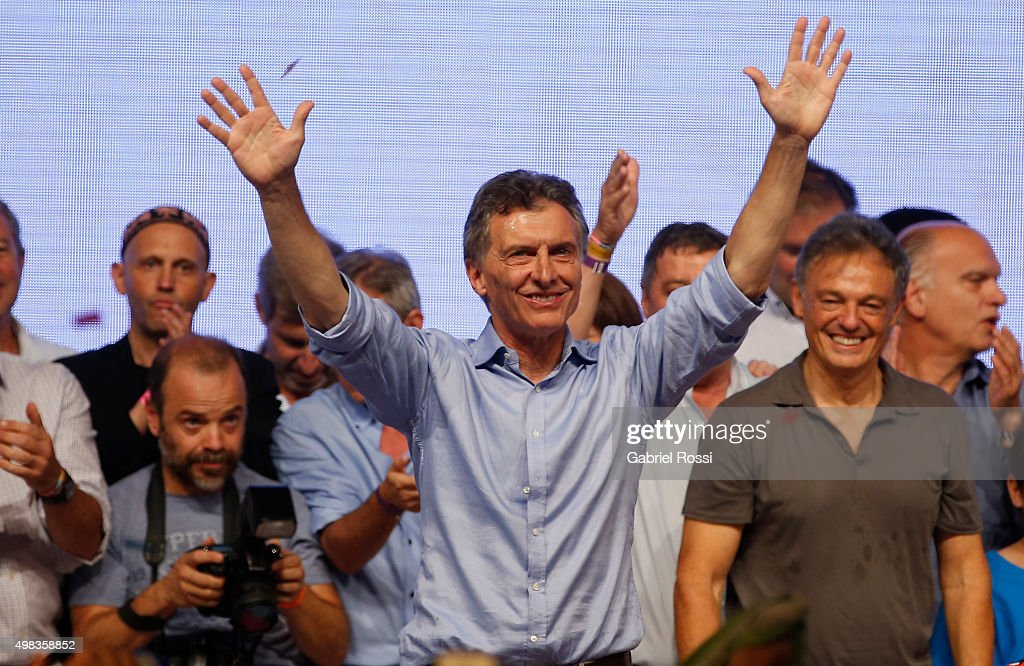 <a gi-track='captionPersonalityLinkClicked' href=/galleries/search?phrase=Mauricio+Macri&family=editorial&specificpeople=773012 ng-click='$event.stopPropagation()'>Mauricio Macri</a> Presidential Candidate for Cambiemos celebrates after runoff elections at Cambiemos Bunker on November 22, 2015 in Buenos Aires, Argentina.