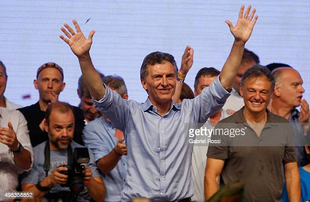Mauricio Macri Presidential Candidate for Cambiemos celebrates after runoff elections at Cambiemos Bunker on November 22 2015 in Buenos Aires...