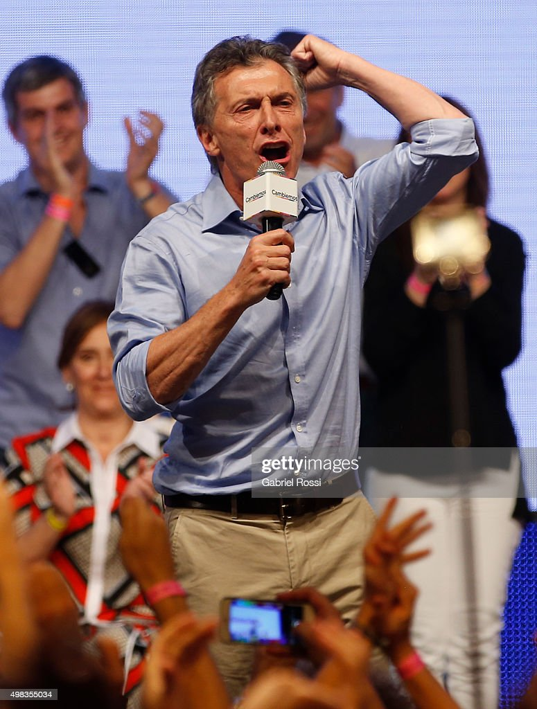 Mauricio Macri Presidential Candidate for Cambiemos delivers a speech after runoff elections at Cambiemos Bunker on November 22, 2015 in Buenos Aires, Argentina.