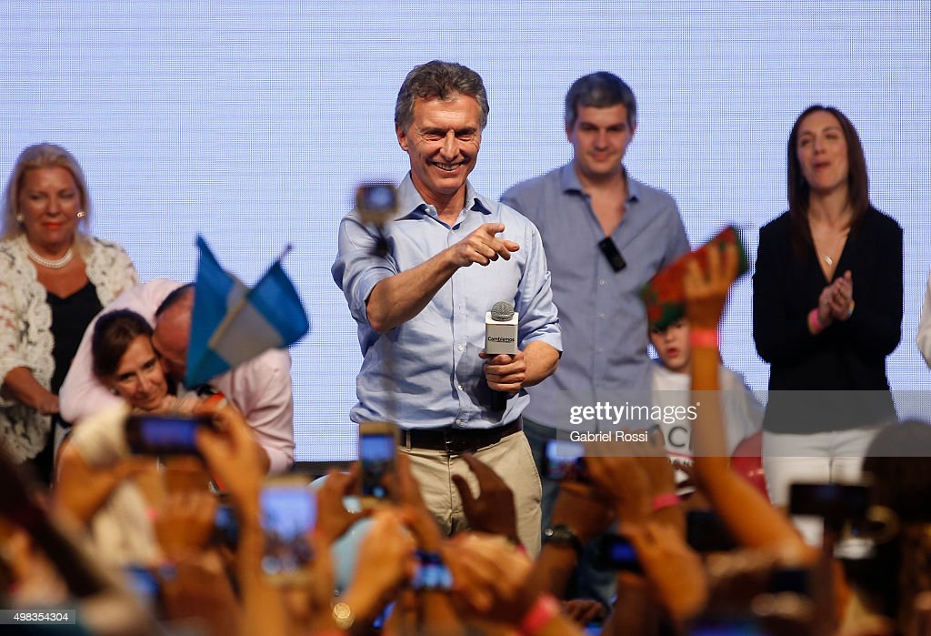 Mauricio Macri Presidential Candidate for Cambiemos gestures after runoff elections at Cambiemos Bunker on November 22, 2015 in Buenos Aires, Argentina.