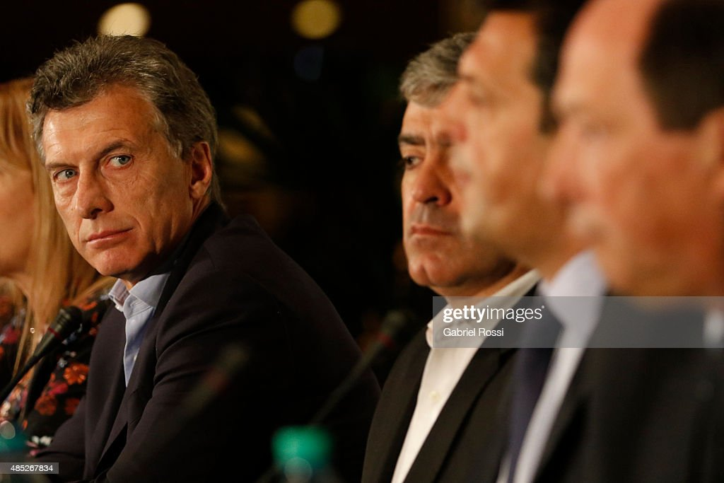 <a gi-track='captionPersonalityLinkClicked' href=/galleries/search?phrase=Mauricio+Macri&family=editorial&specificpeople=773012 ng-click='$event.stopPropagation()'>Mauricio Macri</a> Presidential Candidate for Cambiemos looks on during a press conference where opposition leaders joined Jose Cano, candidate for Governor of Tucuman, after irregularities during the elections held on August 23 at Sheraton Hotel on August 26, 2015 in Buenos Aires, Argentina.