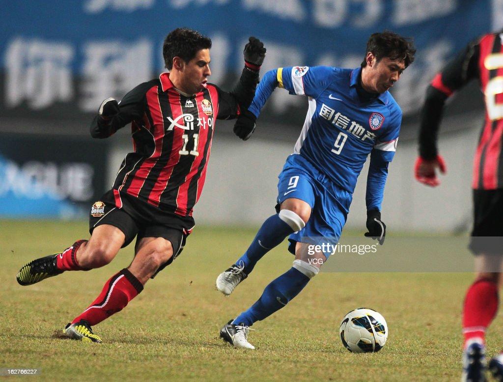 Mauricio Molina (L) of FC Seoul and Lu Bofei (R) of Jiangsu Sainty battle for the ball during the AFC Champions League match between FC Seoul and Jiangsu Sainty at Seoul World Cup Stadium on February 26, 2013 in Seoul, South Korea.