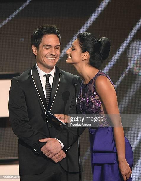 Mauricio Ochmann and Aislinn Derbez attend Premios Tu Mundo Awards at American Airlines Arena on August 21 2014 in Miami Florida