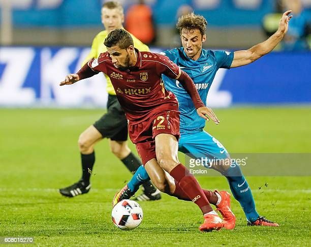 Mauricio of FC Zenit St Petersburg and Jonathas of FC Rubin Kazan vie for the ball during the Russian Football League match between FC Zenit St...